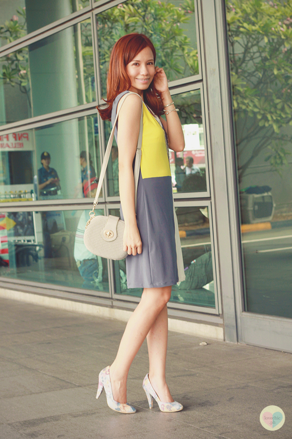 love chic tumblr lovechic asian fashion blog shai lagarde shailagarde style fashion blogger travel naia airport incheon cebu pacific flight yellow lime avocado green grey colorblocking dress cole vintage summer corporate forever21 heels floral korea 6