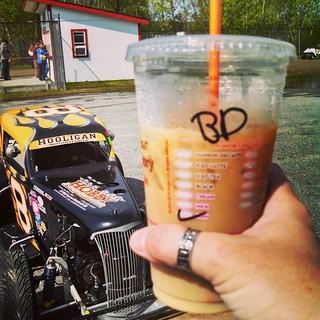 Good Morning Race Fans ... #coffee #2 of the day #IRunOnDunkins #raceday #uslegends #racecar #icedlatte #racing #DunkinDonuts