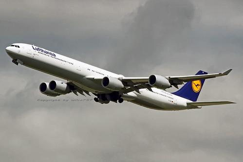 Lufthansa Airbus 340-600 departing FRA (D-AIHC)