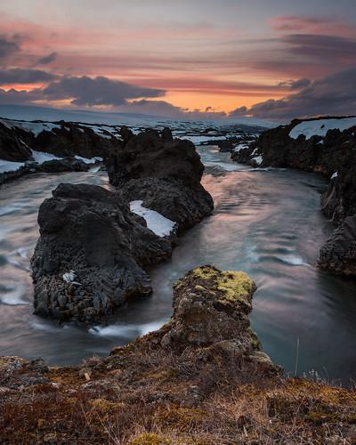 sunset sky snow water river landscape iceland nikon rocks northeast godafoss goðafoss skjálfandafljót ndgradfilter sigma24mmf18exdg norðurlandeystra