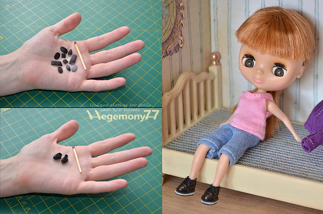 Petite Blythe doll size miniature handmade shoes - component parts in pieces and assembled