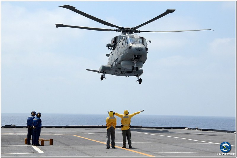 UK MK2 Merlin on ITS Cavour – Op. Sophia EUNAVFOR MED