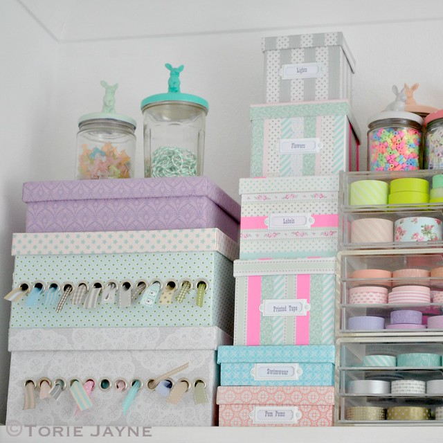 Pretty craft room shelf