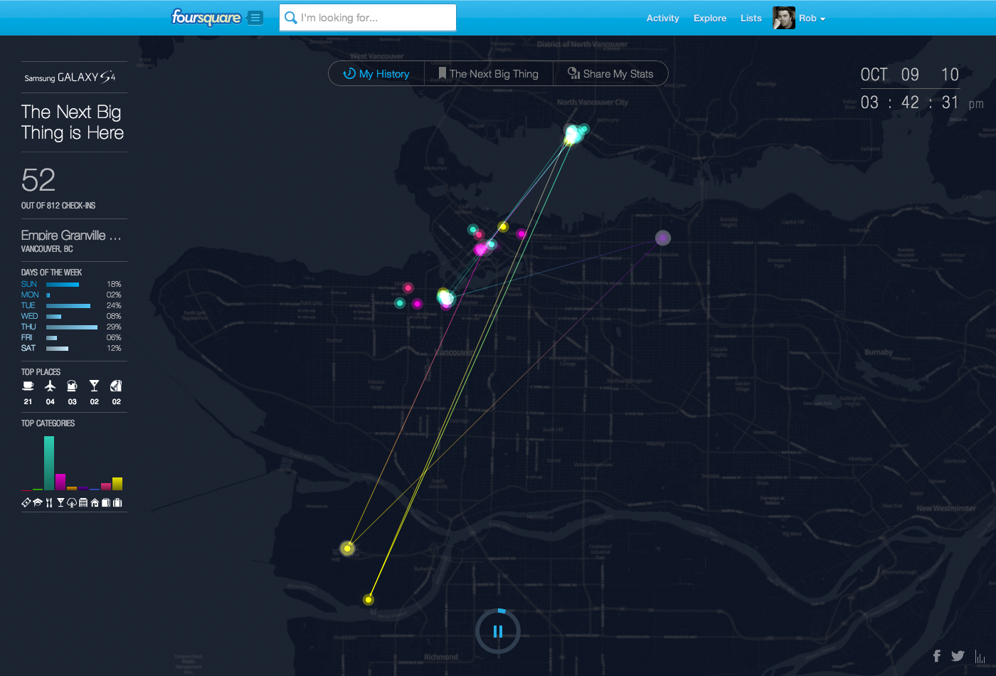 Watch your Foursquare check-in history tick over on a smooth animated map.