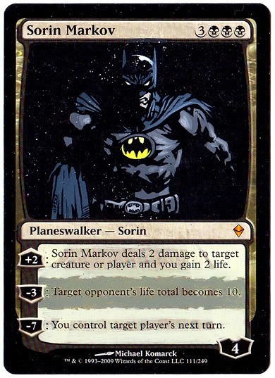 Sorin Markov Magic Card Altered Art Batman Magic the gathering alter by Eric Klug Sorin mtg card art magic the gathering cards Planeswalker altered art magic