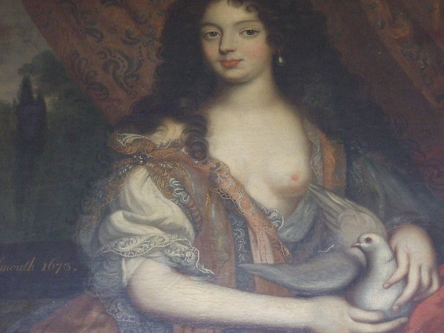 026 mad Duchess of Portsmouth detail Louise de la Queroaille mistress Charles II 1673 attrib Henri Gascars Board Rm
