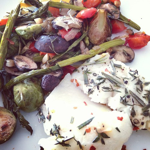 Sea bass and roasted veggies