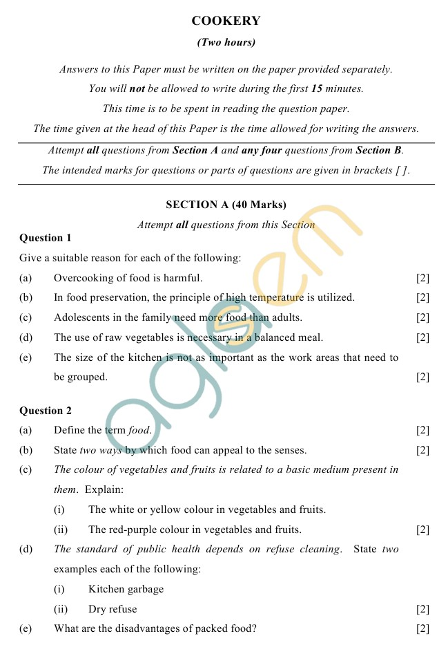 ICSE Class 10 Cookery Sample Paper