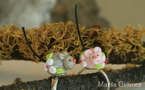 Lampwork Mice Rings