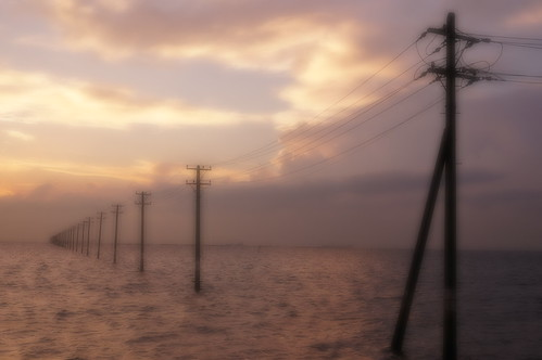 Soft Focus Mid utility poles into the sea 13