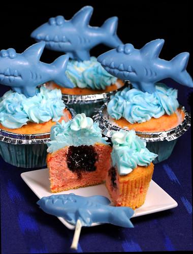 Shark Cupcakes cut