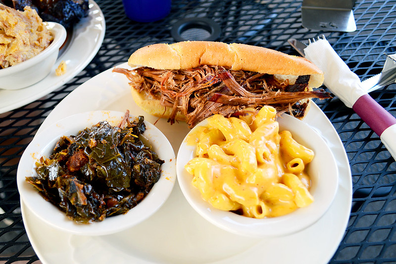 Pulled Beef with Collard Greens & Mac and Cheese