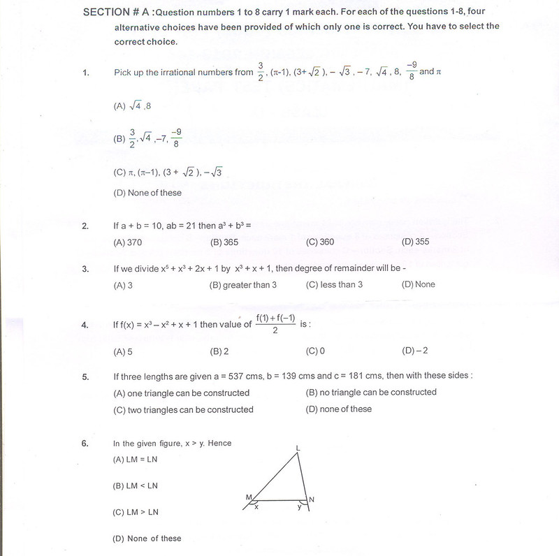 CBSE Class IX Maths Sample Paper Part B