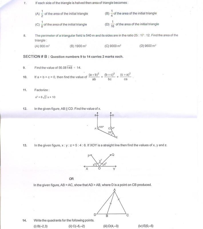 CBSE Sample Paper for Class 9 SA1 – Maths – AglaSem Schools