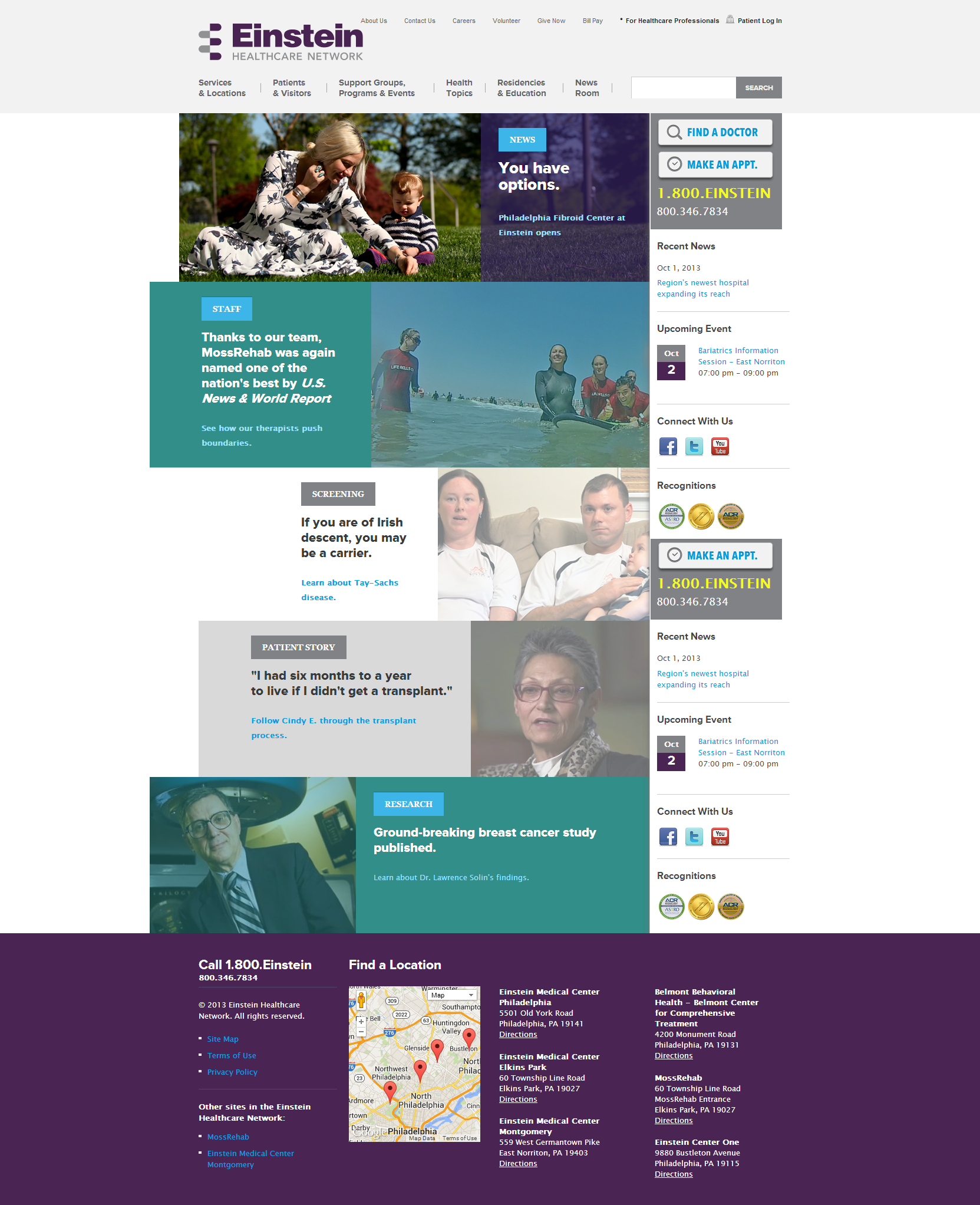 Einstein Healthcare Network Beautiful Health Website