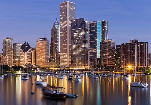 longexposure chicago building skyline architecture sunrise buildings boats boat illinois cityscape unitedstates cityscapes slowshutter sunrises longexpo