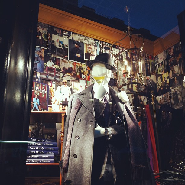 A close up of the window for #IamDandy at @bergdorfs Facing 5th Ave @ 58th St!