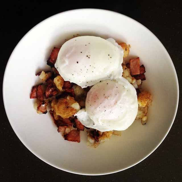 Easy breakfast hash with poached eggs