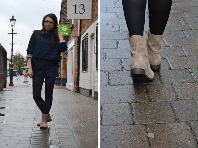 Daisybutter - UK Style and Fashion Blog: what i wore, navy jumper, ways to wear denim shirts, seven boot lane