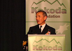 Adm. Harry B. Harris Jr., speaks about the Fleet's role in America's rebalance to the Indo-Asia-Pacific during a Kokoda Foundation conference, Oct. 31. (Kokoda Foundation photo)