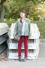 """Fall layered outfit: Red corduroys, Jeffrey Campbell """"Everly"""" ankle boots, sleeveless chambray shirt, lace-front sweatshirt, lace-embellished military jacket, cross-body Phillip Lim for Target bag"""