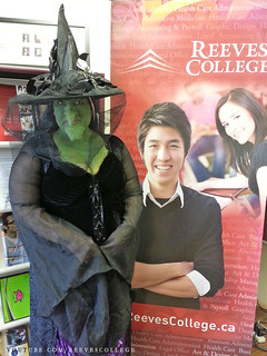 Reeves College Lloydminster Campus Students, Staff and Faculty in Halloween Costumes - Jaye as Witch