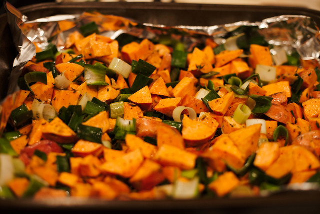 cute & little blog | roasted sweet potato and leek recipe | emeals