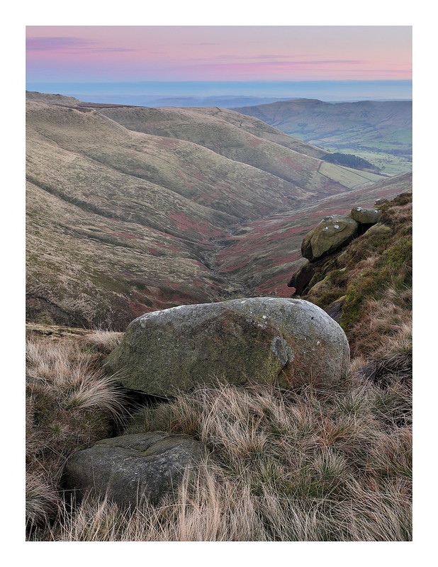 A landscape photo at dusk of Crowden Clough on Kinder Scout in the Derbyshire Peak District