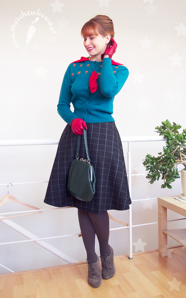 marchewkowa, blog, szycie, krawiectwo, sewing, retro, vintage, moda, fashion, 50s, spódnica z połówki koła, half-circle skirt, sweter, cardie, King Louie, wełna, wool, patterns, DIY