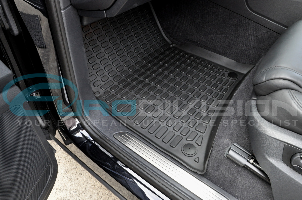 vw touareg ii 2011 black rubber car interior floor mats rhd perfect fit ebay. Black Bedroom Furniture Sets. Home Design Ideas
