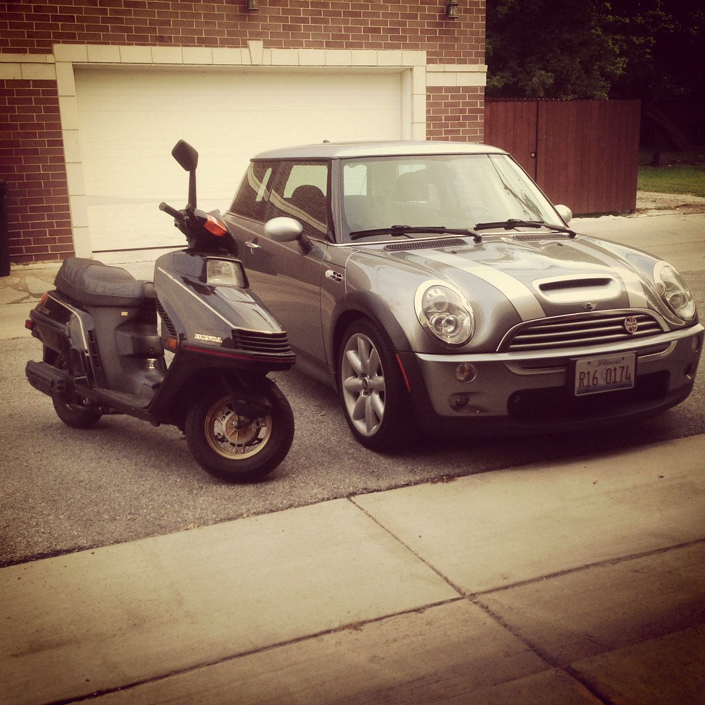 Honda Elite 250 and MINI Cooper S