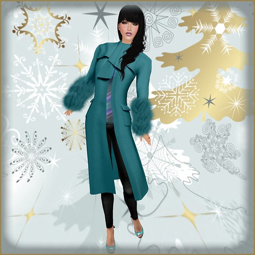 TOPAZIA-Katerina fur winter coat (partial mesh) teal by Orelana resident