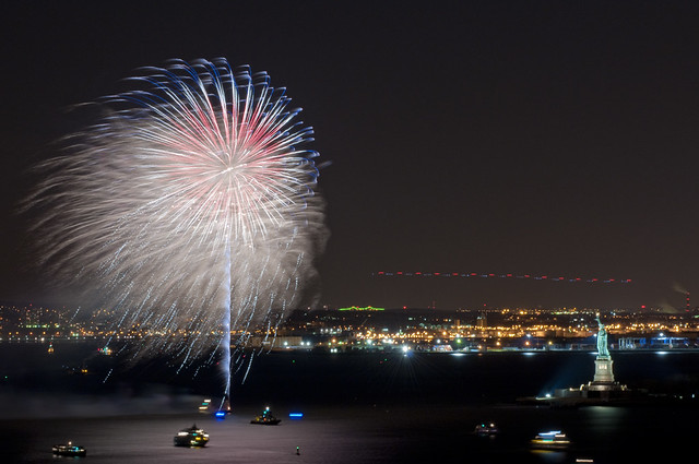 The first fireworks of the New Year in NY Harbor.