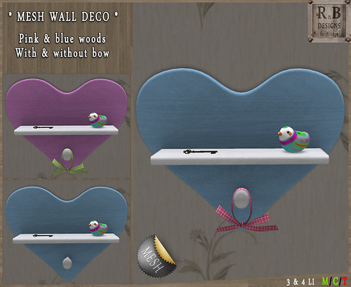 PROMO 10L ! *RnB*  Mesh Wall Deco Hearts - Birds