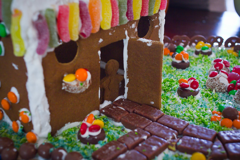 Sunday, December 15: Gingerbread house building took a summery turn this year.
