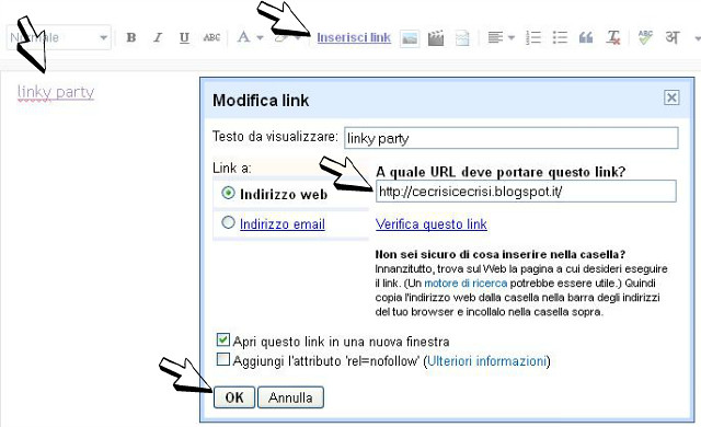 come inserire un link di testo nel post, linky party 101, come partecipare ad un linky party