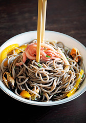 soba noodles with seafood, bell pepper and honey soy dressing