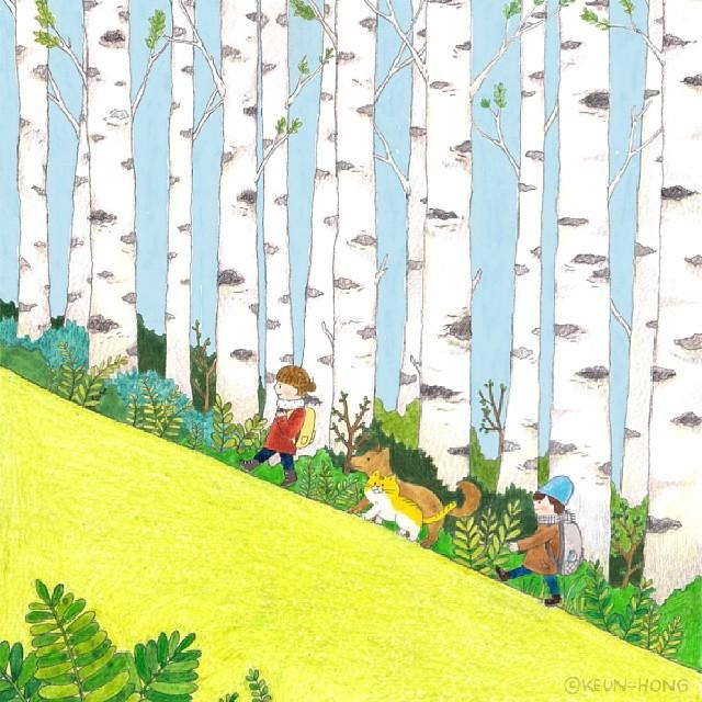Photo:#illust #illustration #illustrator #sketch #drawing #forest #birch #일러스트 #일러스트레이터 #그림 #낙서 #스케치 #숲 #자작나무 #イラスト #イラストレーター #絵 #落書き #林 #しらかば By Keun-Hong