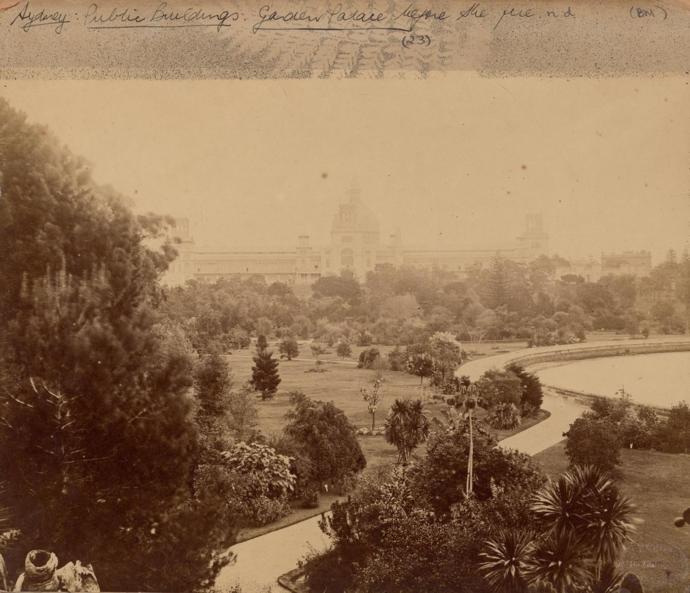[View of Garden Palace looking south-west from top of Victoria Lodge, Botanic Gardens, Sydney], c. 1879-1882 by C. Bayliss Photo