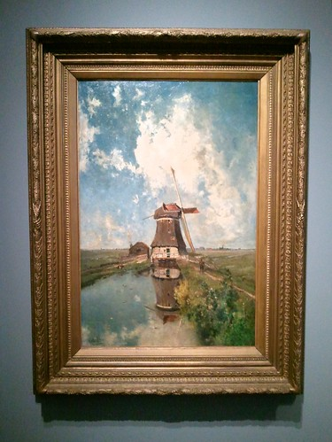 A 19th century Dutch painting of windmills by Paul Joseph Constantin Gabriel