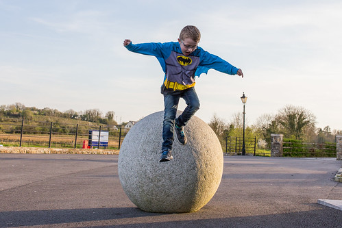 Batman (or Ethan!) playing on the stones at Aghalane