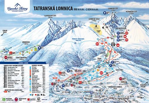 Tatranská Lomnica - mapa zjezdoviek