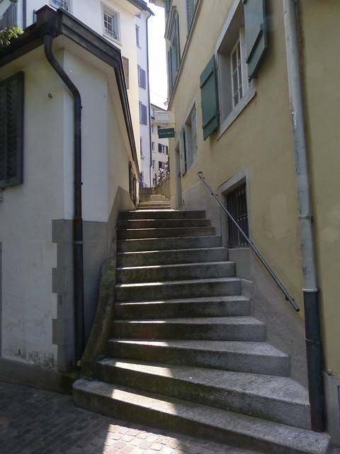 Narrow stair-walkway between buildings