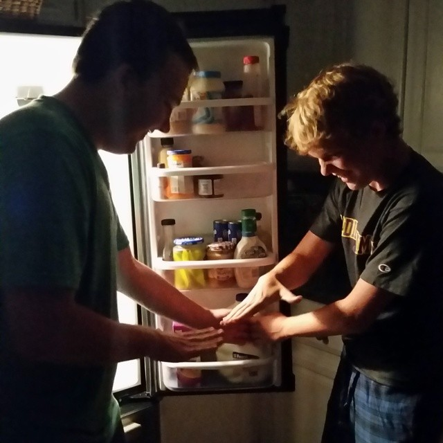 151/365 Rock, paper, scissors over who gets the milk first. It goes on forever because they constantly tie by picking the same thing like above. They both chose paper. #brothers #thinkalike #365 #soagl365
