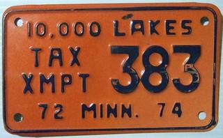 MINNESOTA 1972-74 ---TAX EXEMPT MOTORCYCLE