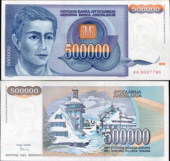 500 000 Dinárov Juhoslávia 1993, Pick 193