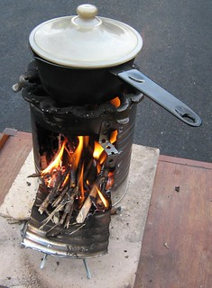 Rocket Stove with Pot of Food