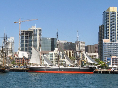 The San Diego Marintime Museum and city skyline.  San Diego California.  June 2013. by Eddie from Chicago