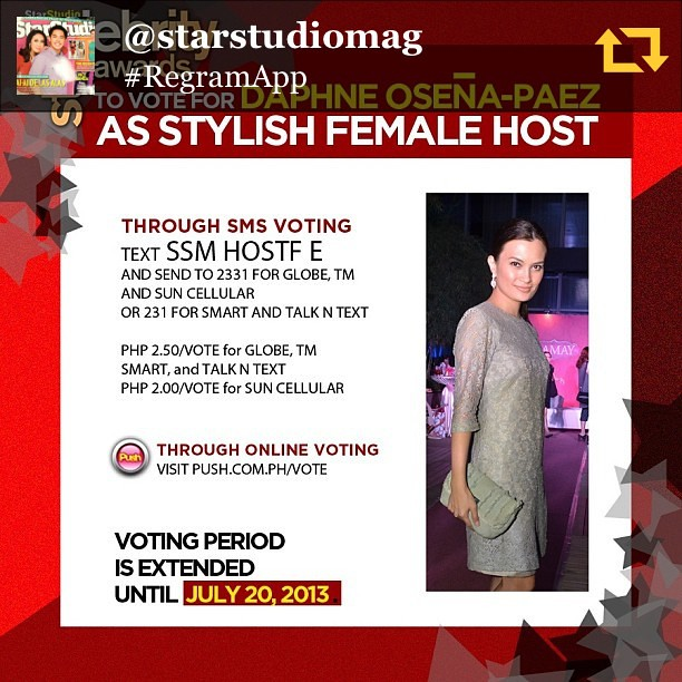 Thanks for the nomination. RG @starstudiomag: Design diva @daphneop is up for most stylish female host? #ssmstyleawards #regramapp