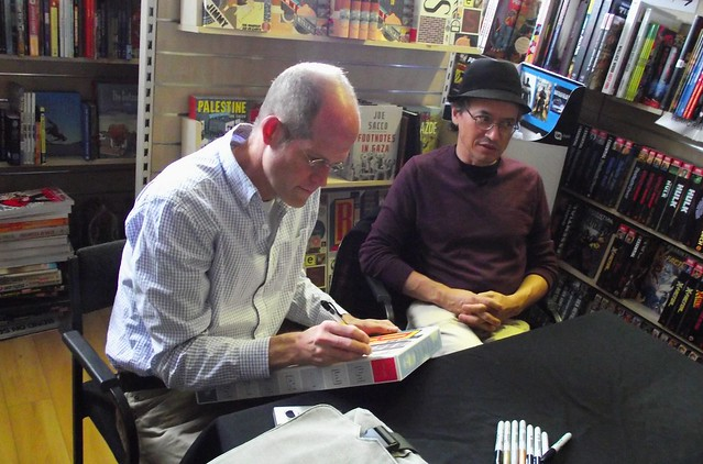 Chris Ware & Joe Sacco signing Forbidden Planet Edinburgh 01